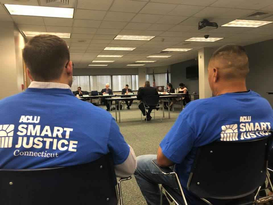 Gus and Manny, ACLU Smart Justice Connecticut leaders attend CT criminal justice commission meeting to appoint deputy chief state's attorney