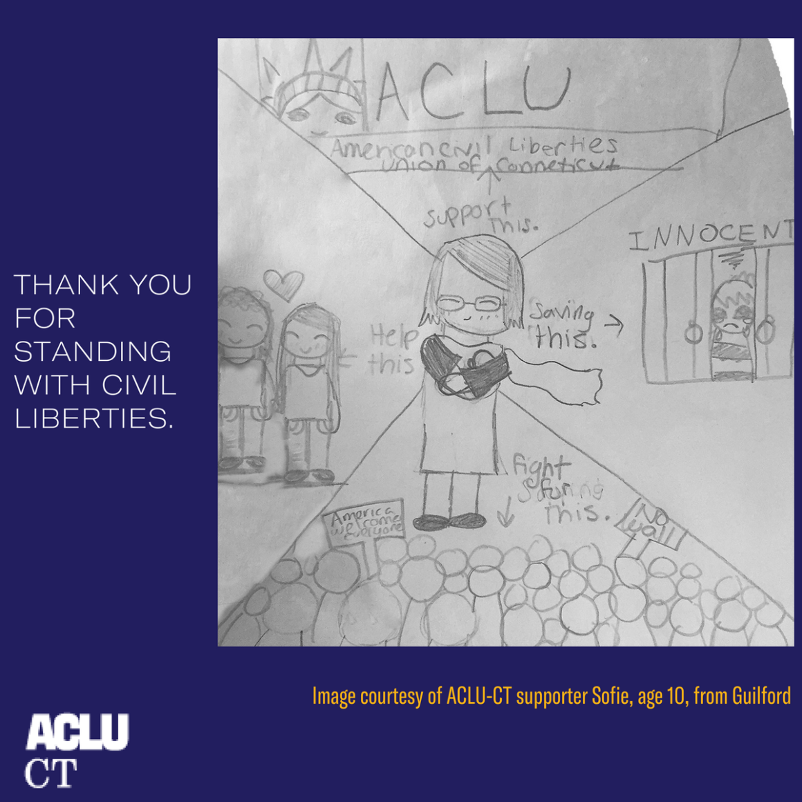 ACLU of Connecticut / CT thank you for standing with civil liberties. Superhero stands next to criminal justice reform, LGBTQ rights, no ban no wall protest