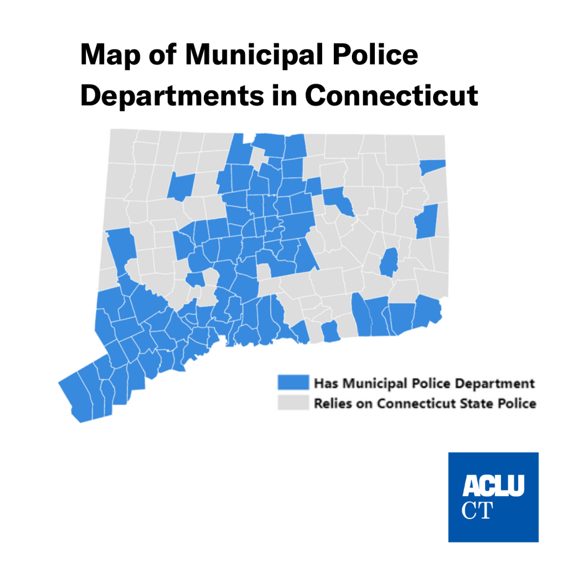 Map of Connecticut by town with municipal police vs reliant on state police