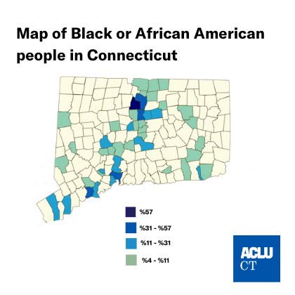 A map of Connecticut towns by % Black or African American residents
