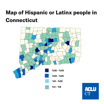 Map of Connecticut by town % Hispanic or Latinx residents