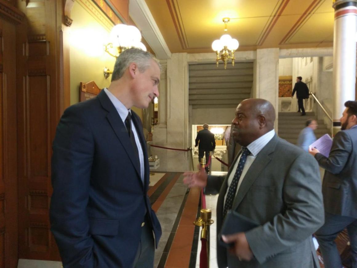 Activist James Tillman lobbies Connecticut state Rep. Derek Slap to support solitary confinement legislation
