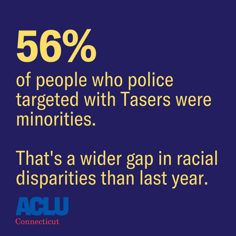 Police tasing in Connecticut: 56 percent of people who police targeted with Tasers in Connecticut were minorities in 2016. That's a wider gap in racial disparities than the prior year. ACLU-CT / ACLU of Connecticut image.