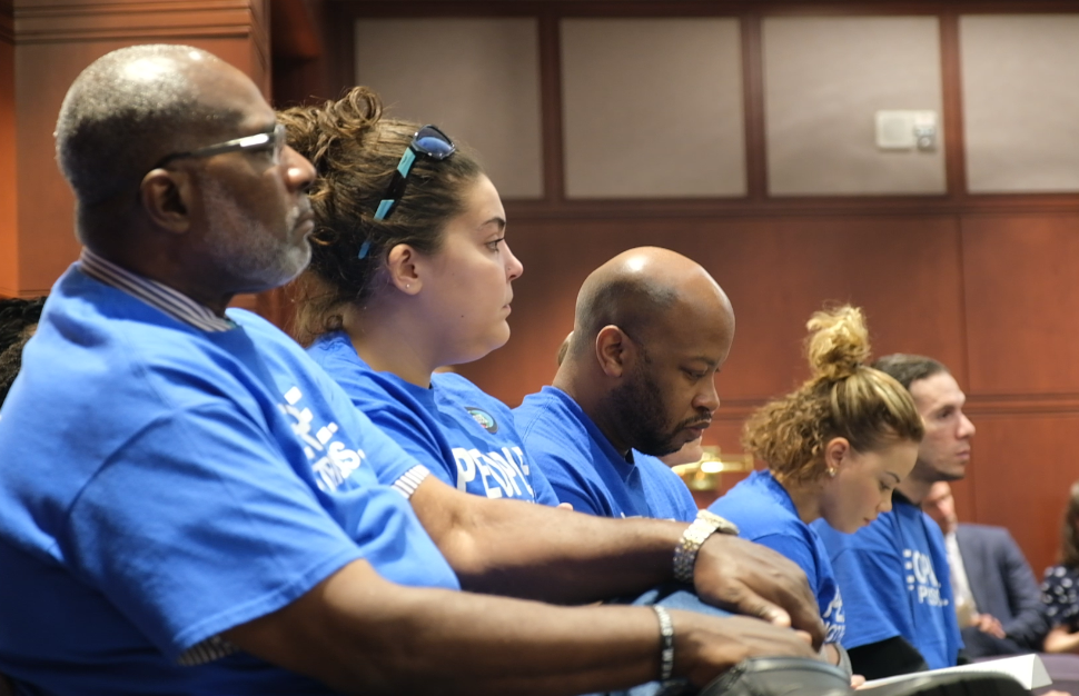 ACLU-CT Smart Justice leaders watch the Connecticut Criminal Justice Commission meeting