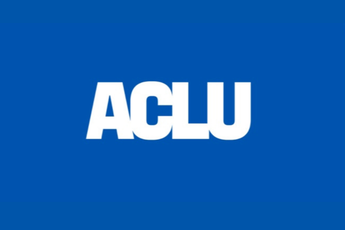 """The national ACLU logo, """"ACLU"""" in white letters, appears on a bright blue background."""