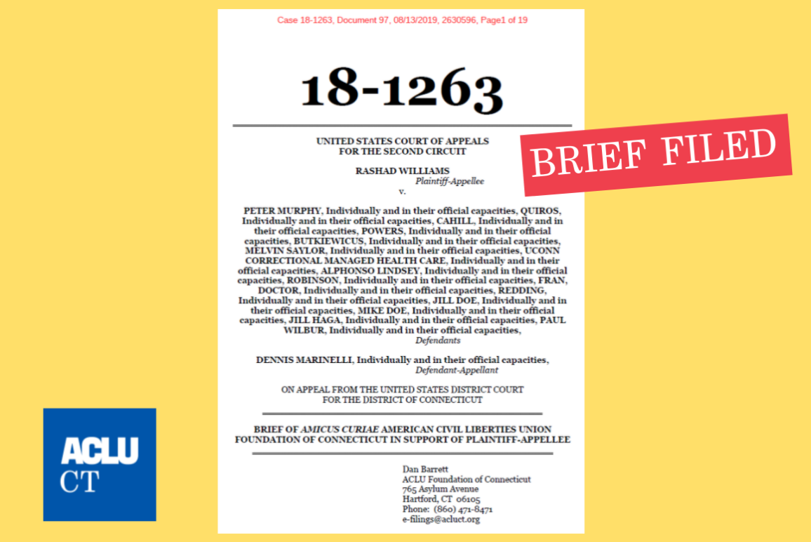 ACLU of Connecticut ACLU-CT amicus brief filing in Williams v Murphy