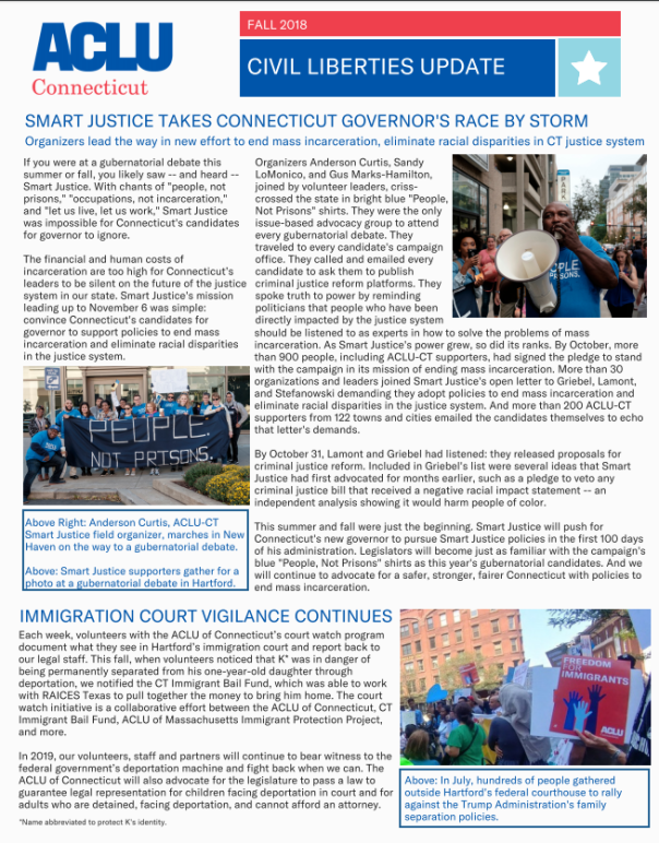Cover of ACLU of Connecticut ACLU-CT civil liberties update newsletter fall 2018