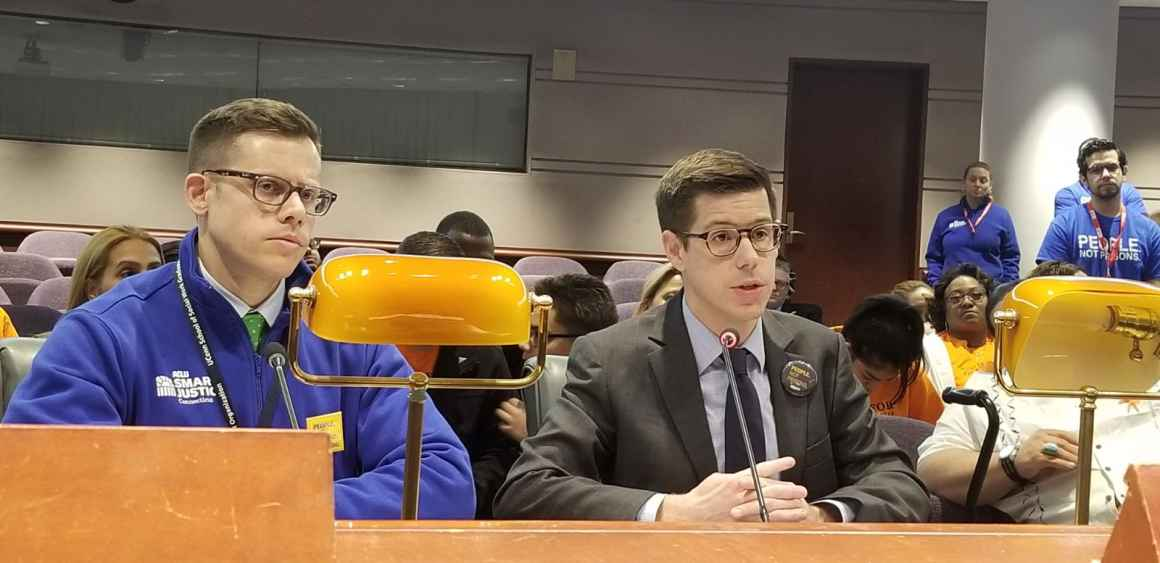 ACLU-CT ACLU of Connecticut Smart Justice Gus Marks-Hamilton and David McGuire testify at the legislature in support of a bill to create prosecutorial transparency in Connecticut's criminal justice system