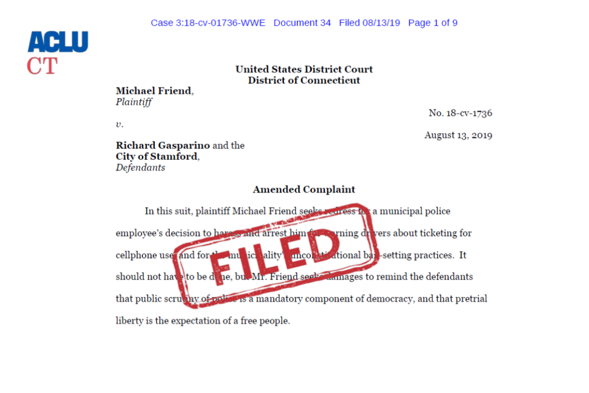 ACLU of Connecticut Cover Amended Complaint Friend v Gasparino, City of Stamford, bail