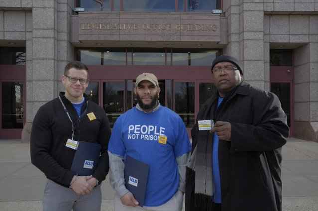 ACLU Connecticut Smart Justice leaders Gus, Anderson, Ramon at the CT state capitol building / legislative office building