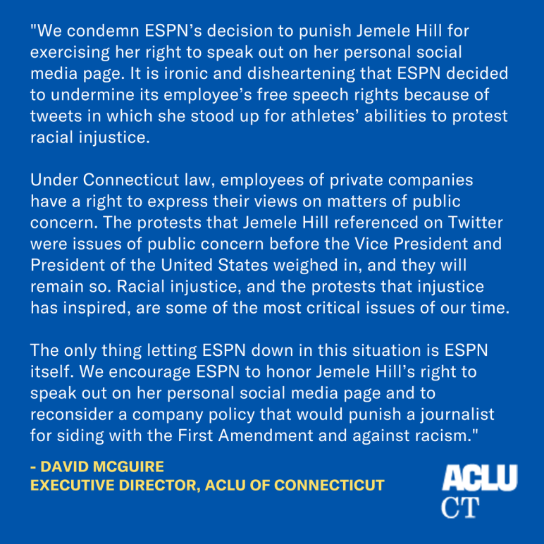 ACLU of Connecticut condemns ESPN suspension of Jemele Hill for her tweets about NFL protests, citing Connecticut free speech law
