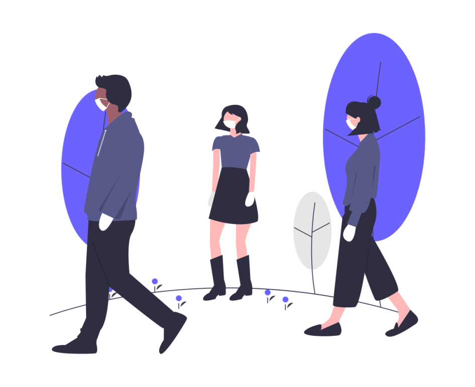 undraw illustration of three people in blue shirts walking 6 feet apart in white masks and white gloves, with blue trees in background
