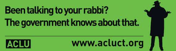 """Billboard image ACLU-CT privacy campaign: """"Been talking to your rabbi? The government knows about that."""""""