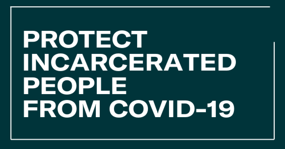 White text on a green background says: Protect incarcerated people from covid-19