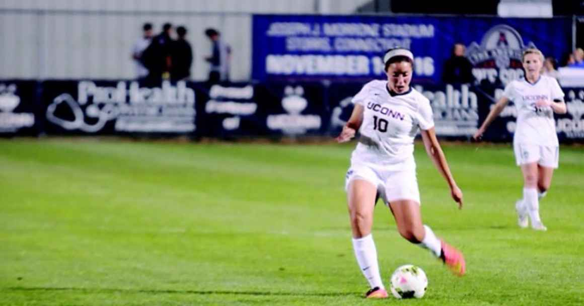 UCONN Soccer player and author Noriana Radwan is seen on the soccer pitch.